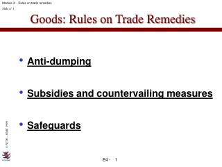 Goods: Rules on Trade Remedies