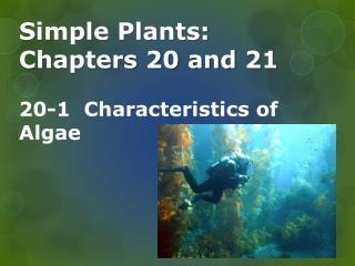 Simple Plants: Chapters 20 and  21 20-1  Characteristics of Algae