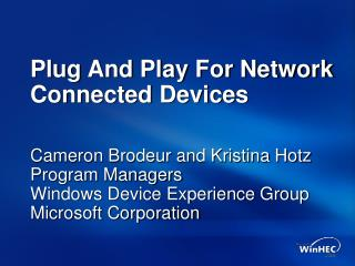 Plug And Play For Network Connected Devices