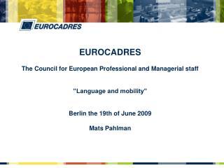 EUROCADRES Recognized European social partner