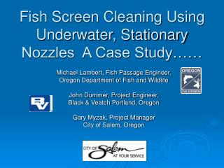 Fish Screen Cleaning Using Underwater, Stationary Nozzles  A Case Study……