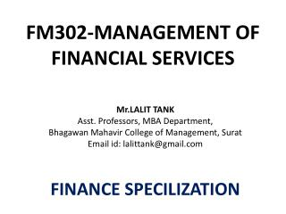 FM302-MANAGEMENT OF FINANCIAL SERVICES