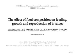 The effect of food composition on feeding, growth and reproduction of bivalves