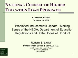 National Counsel of Higher Education Loan Programs