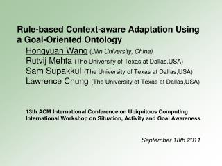 Rule-based Context-aware Adaptation Using a Goal-Oriented Ontology