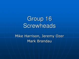 Group 16 Screwheads