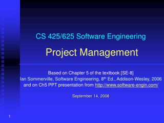 CS 425/625 Software Engineering Project Management