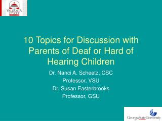 10 Topics for Discussion with Parents of Deaf or Hard of Hearing Children