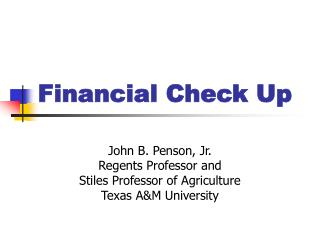 Financial Check Up