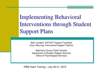 Implementing Behavioral Interventions through Student Support Plans