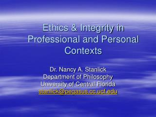 Ethics & Integrity in Professional and Personal Contexts