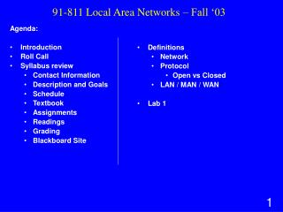 91-811 Local Area Networks – Fall '03