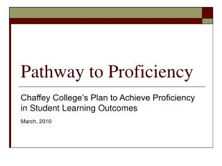 Pathway to Proficiency