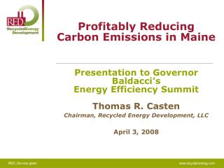 Profitably Reducing Carbon Emissions in Maine