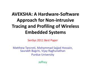 SenSys 2011 Best Paper