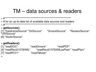 TM – data sources & readers