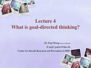 Lecture 4  What is goal-directed thinking?