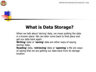 What is Data Storage?