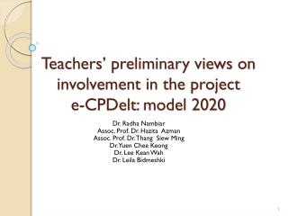 Teachers' preliminary views on involvement in the project e- CPDelt : model 2020