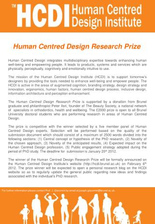 Human Centred Design Research Prize