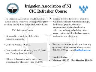 Irrigation Association of NJ CIC Refresher Course