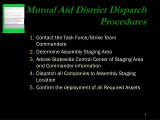 Mutual Aid District Dispatch Procedures