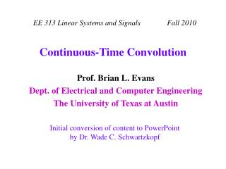 Continuous-Time Convolution