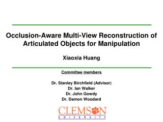 Occlusion-Aware Multi-View Reconstruction of Articulated Objects for Manipulation