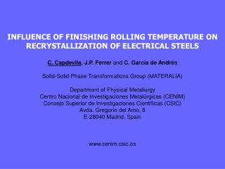 INFLUENCE OF FINISHING ROLLING TEMPERATURE ON RECRYSTALLIZATION OF ELECTRICAL STEELS