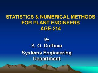 STATISTICS & NUMERICAL METHODS FOR PLANT ENGINEERS AGE-214