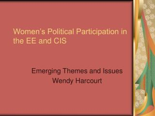 Women's Political Participation in the EE and CIS