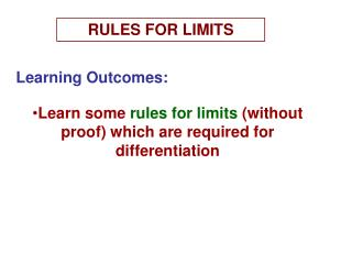 RULES FOR LIMITS