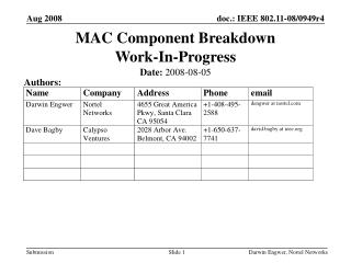 MAC Component Breakdown Work-In-Progress