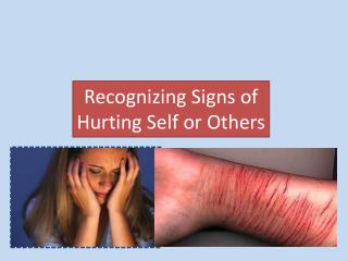 Recognizing Signs of  Hurting  Self or Others