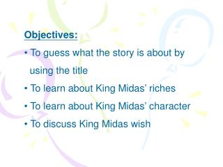 Objectives:  To guess what the story is about by           using the title