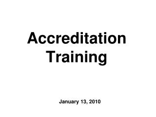 Accreditation Training