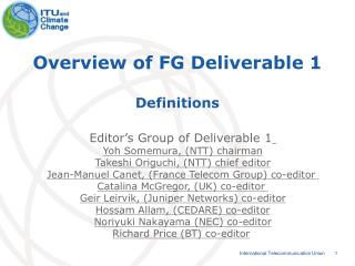 Overview of FG Deliverable 1 Definitions