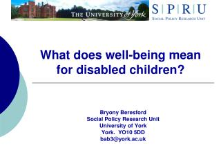 What does well-being mean for disabled children?