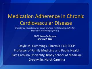 Medication Adherence in Chronic Cardiovascular Disease