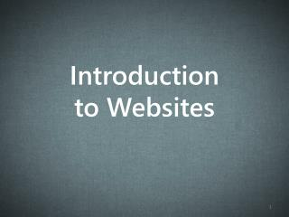 Introduction to Websites