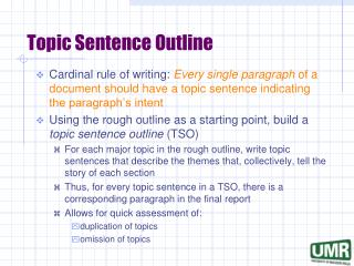 Topic Sentence Outline