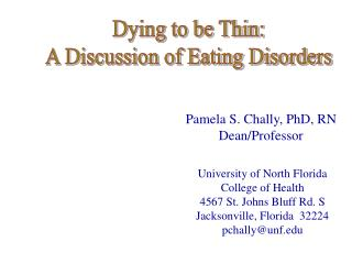 Dying to be Thin: A Discussion of Eating Disorders