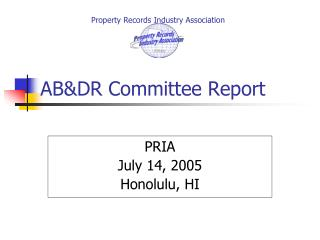 AB&DR Committee Report