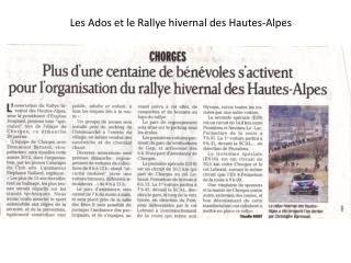 Les Ados et le Rallye hivernal des Hautes-Alpes