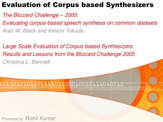Evaluation of Corpus based Synthesizers
