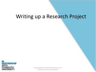 Writing up a Research Project