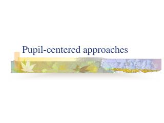 Pupil-centered approaches
