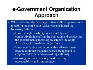 e-Government Organization Approach