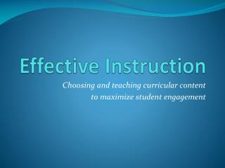 Effective Instruction