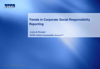 Trends in Corporate Social Responsibility Reporting